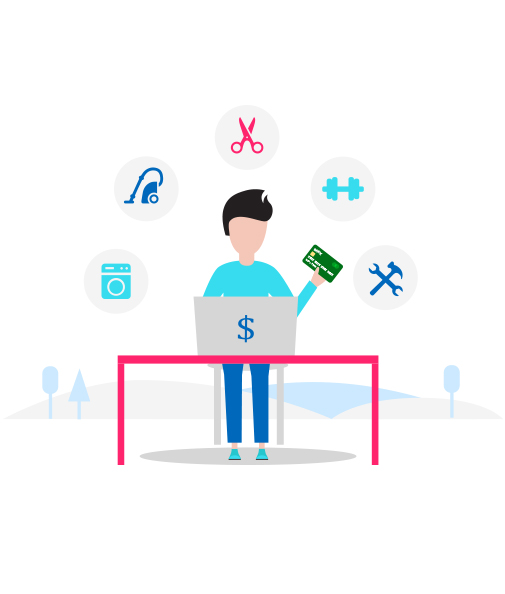Landing page design with custom illustrations
