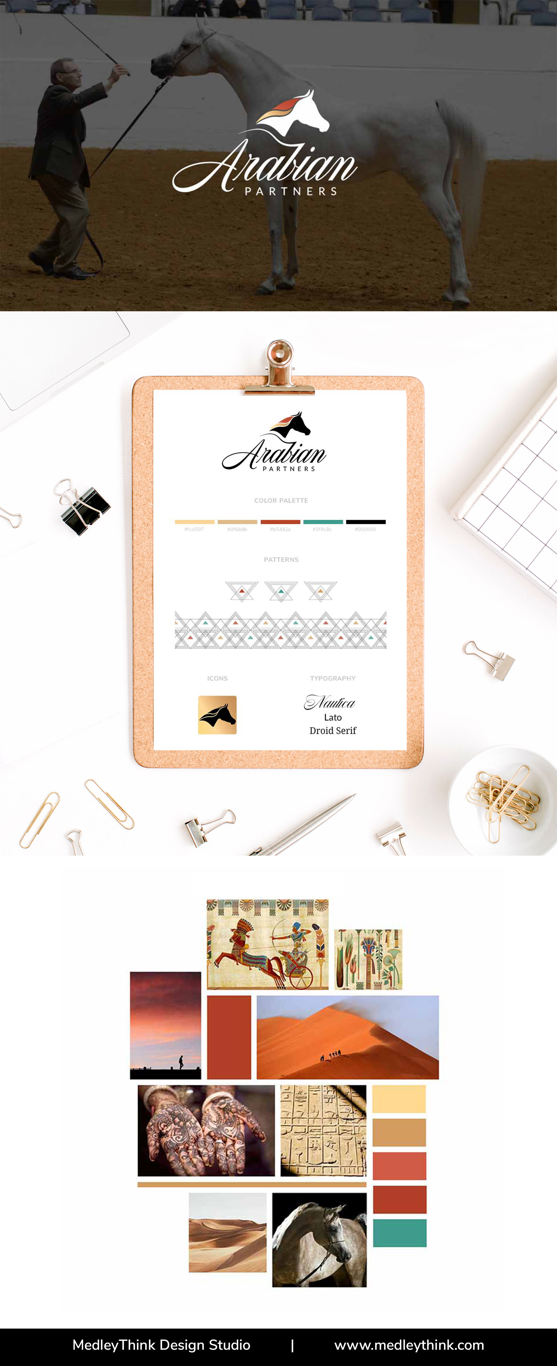 Branding Board Created for Arabian Horses Breeder and Trainer Company. #logodesign #moodboard  #colorpalette #branding