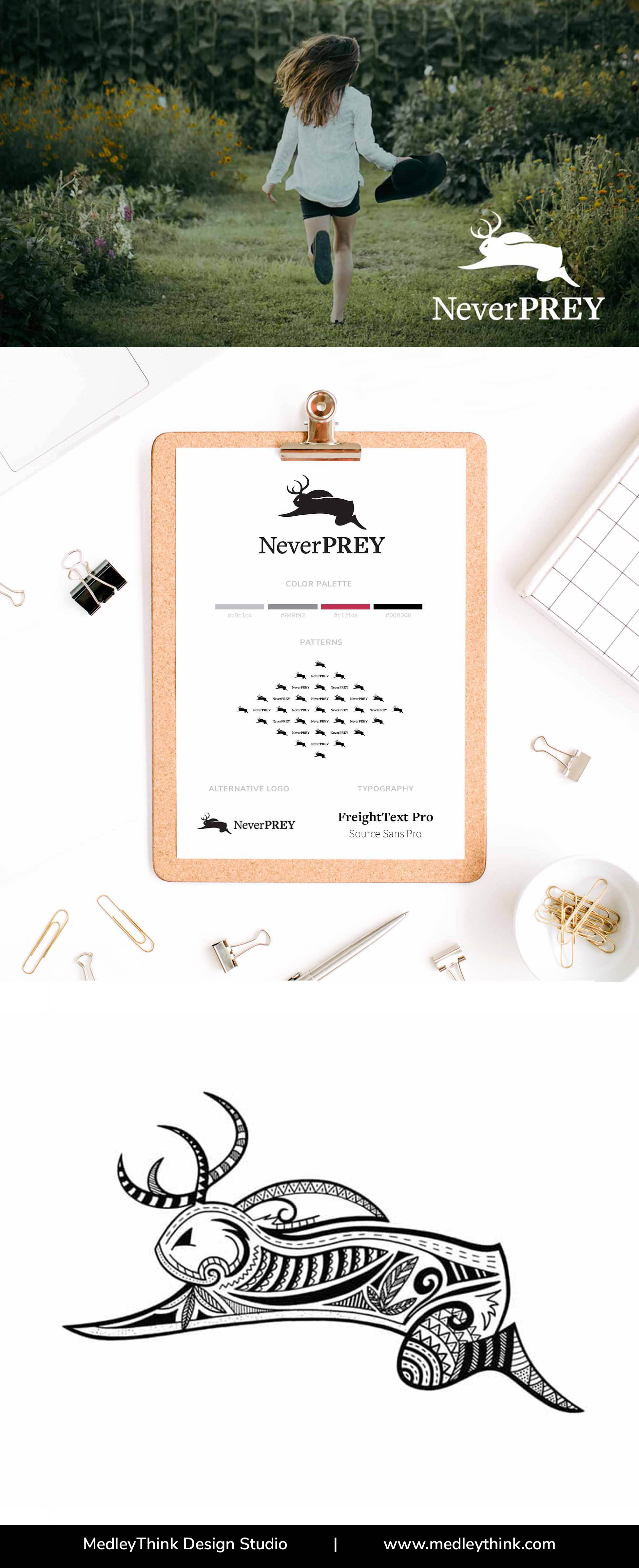 Branding Style Board for NeverPrey | More on our website www.medleythink.com #moodboard #inspirationboard #colorpalette #branding