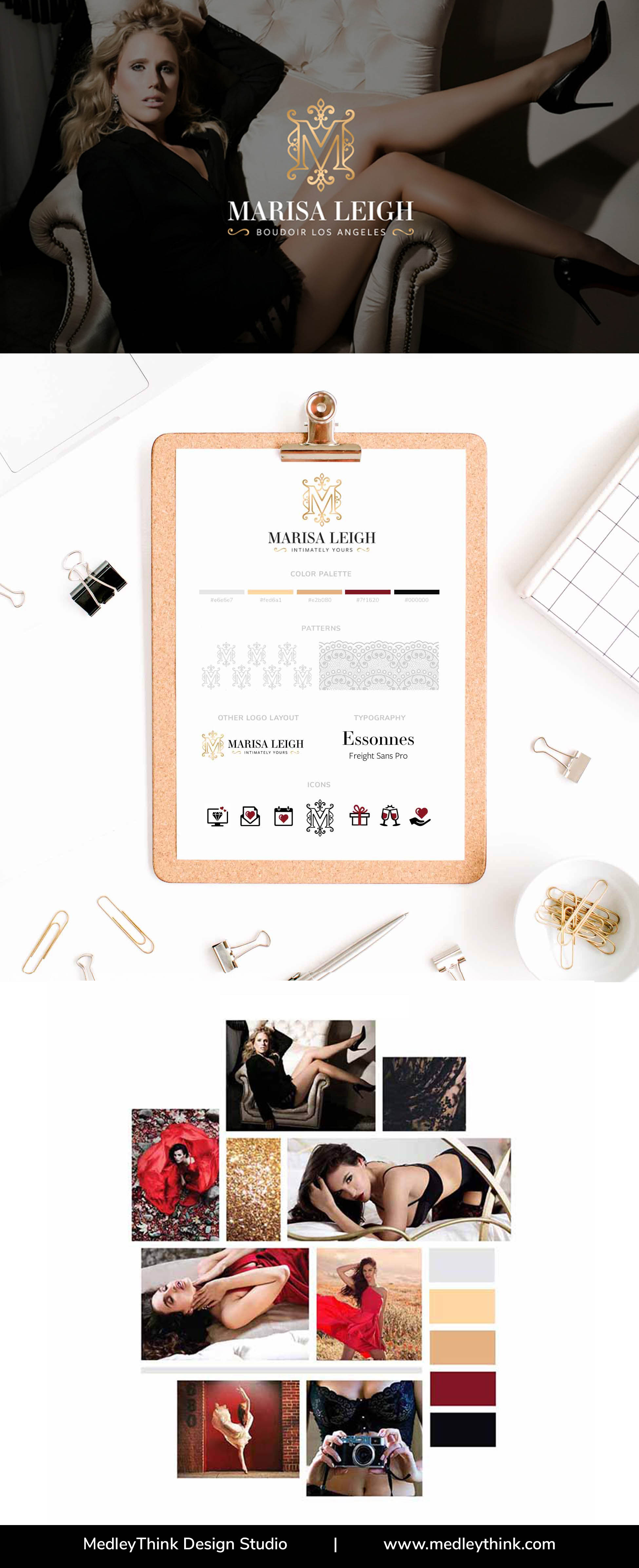 Branding Style Board for Marisa Leigh - Boudoir Photographer | Visit our website www.medleythink.com for more! #moodboard #inspirationboard #colorpalette #branding